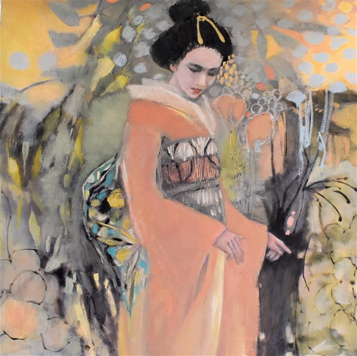 Original art for sale at UGallery.com | Geisha in the Tropics by Mary Pratt | $2,300 | oil painting | 36' h x 36' w | ..\art\oil-painting-Geisha-in-the-Tropics