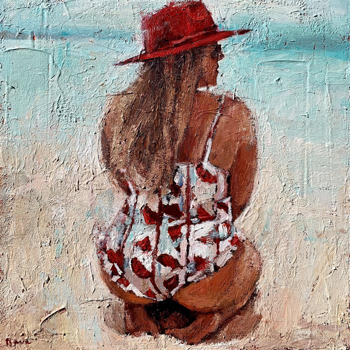 Original art for sale at UGallery.com | Beach Babe by Nava Lundy | $460 | acrylic painting | 12' h x 12' w | ..\art\acrylic-painting-Beach-Babe
