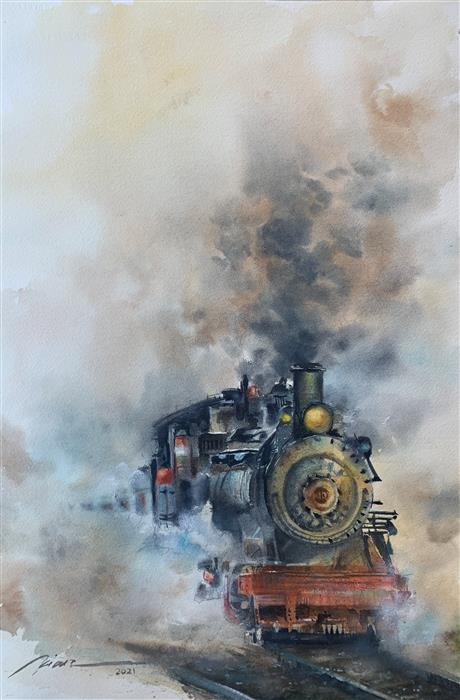 Original art for sale at UGallery.com | Last Journey by Fatemeh Kian | $850 | watercolor painting | 22' h x 15' w | ..\art\watercolor-painting-Last-Journey