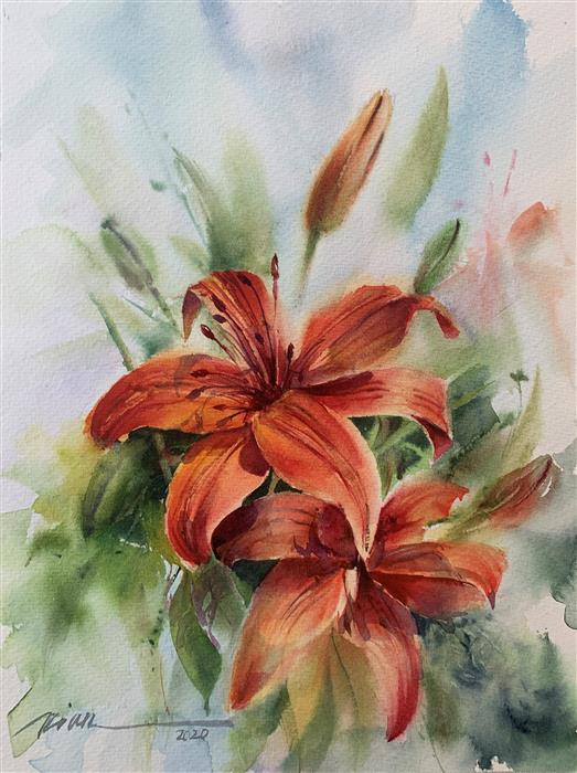 Original art for sale at UGallery.com | Happy Lilies by Fatemeh Kian | $525 | watercolor painting | 15' h x 11' w | ..\art\watercolor-painting-Happy-Lilies