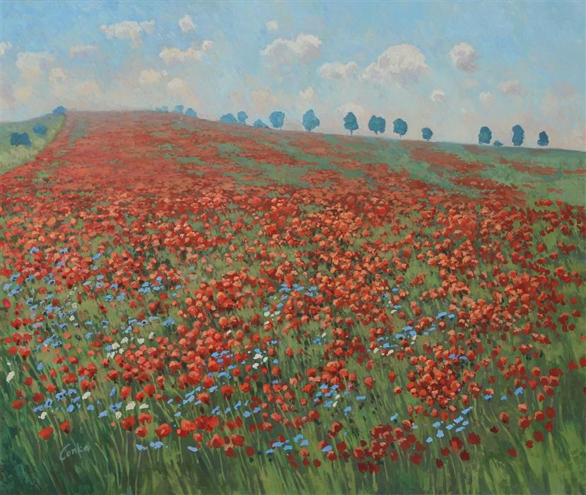 Original art for sale at UGallery.com | Poppy Hill by Stefan Conka | $2,350 | oil painting | 31.4' h x 37.4' w | ..\art\oil-painting-Poppy-Hill-70724