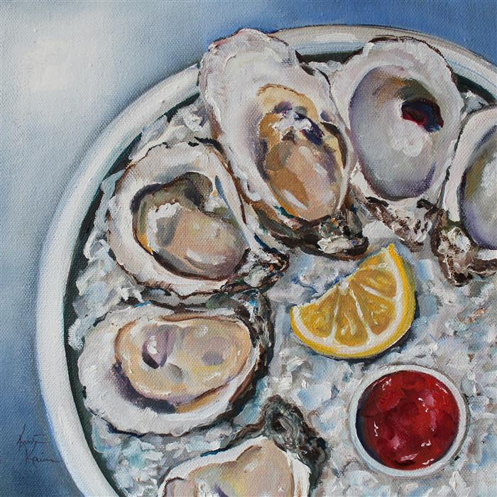 Original art for sale at UGallery.com | Afternoon Oysters by Kristine Kainer | $675 | oil painting | 10' h x 10' w | ..\art\oil-painting-Afternoon-Oysters