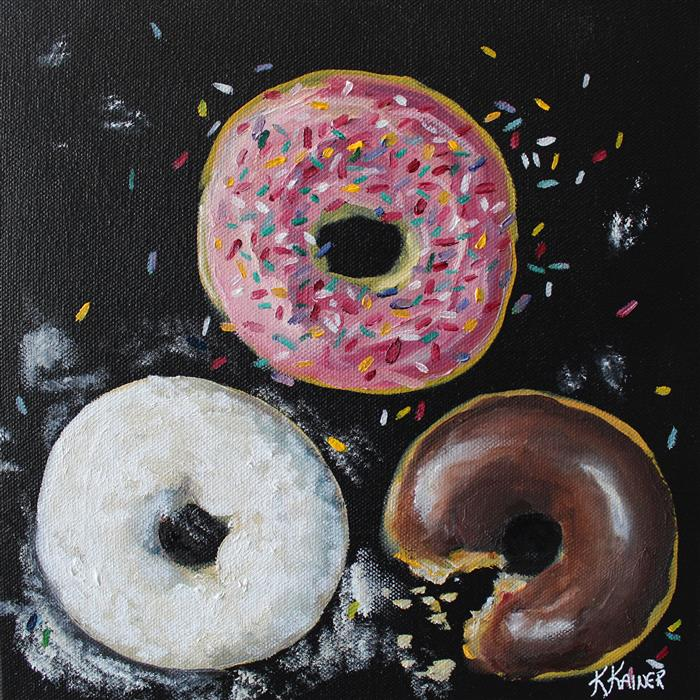 Original art for sale at UGallery.com | Doughnuts by Kristine Kainer | $550 | oil painting | 10' h x 10' w | ..\art\oil-painting-Doughnuts