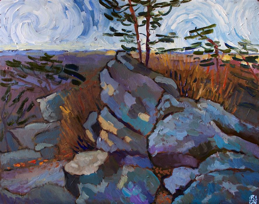 Original art for sale at UGallery.com | On Sugarloaf Mountain by Robert Hofherr | $1,225 | acrylic painting | 24' h x 30' w | ..\art\acrylic-painting-On-Sugarloaf-Mountain