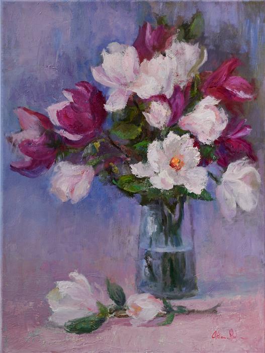 Original art for sale at UGallery.com | Magnolia Bouquet by Oksana Johnson | $1,400 | oil painting | 24' h x 18' w | ..\art\oil-painting-Magnolia-Bouquet