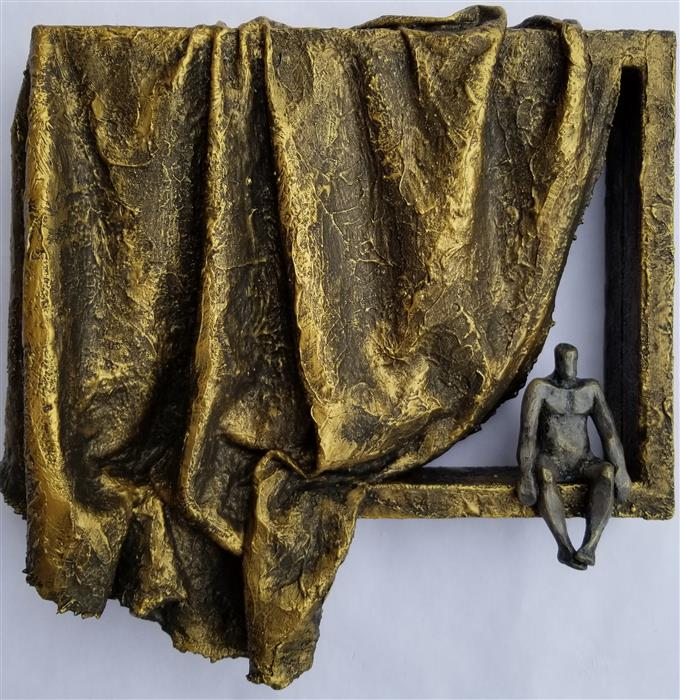 Original art for sale at UGallery.com | A Small Being on Window with Gold Curtain by Yelitza Diaz | $1,000 | mixed media artwork | 14' h x 14' w | ..\art\mixed-media-artwork-A-Small-Being-on-Window-with-Gold-Curtain