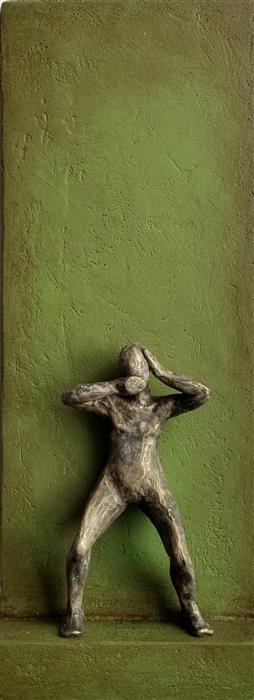 Original art for sale at UGallery.com | Small Being Standing on Green A by Yelitza Diaz | $575 | mixed media artwork | 20' h x 7.5' w | ..\art\mixed-media-artwork-Small-Being-Standing-on-Green-A