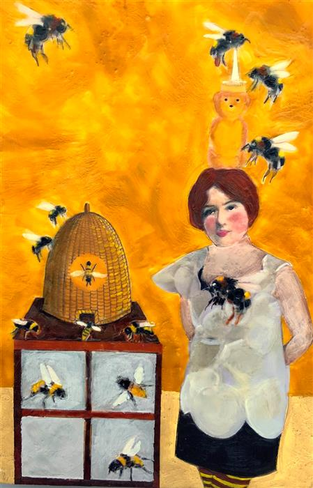 Original art for sale at UGallery.com | Bee It Ever So Humble by Linda Benenati | $575 | encaustic artwork | 18' h x 12' w | ..\art\encaustic-artwork-Bee-It-Ever-So-Humble
