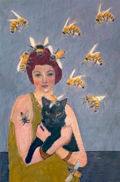 Original art for sale at UGallery.com | Bee Alchemy by Linda Benenati | $575 | encaustic artwork | 18' h x 12' w | ..\art\encaustic-artwork-Bee-Alchemy