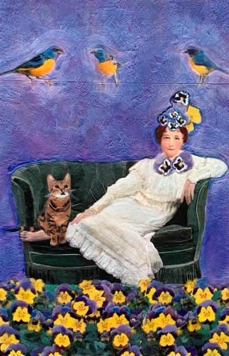 Original art for sale at UGallery.com | In the Garden of Vida by Linda Benenati | $575 | encaustic artwork | 18' h x 12' w | ..\art\encaustic-artwork-In-the-Garden-of-Vida