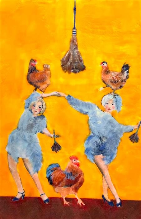 Original art for sale at UGallery.com   Shake a Tail Feather by Linda Benenati   $575   encaustic artwork   18' h x 12' w   ..\art\encaustic-artwork-Shake-a-Tail-Feather
