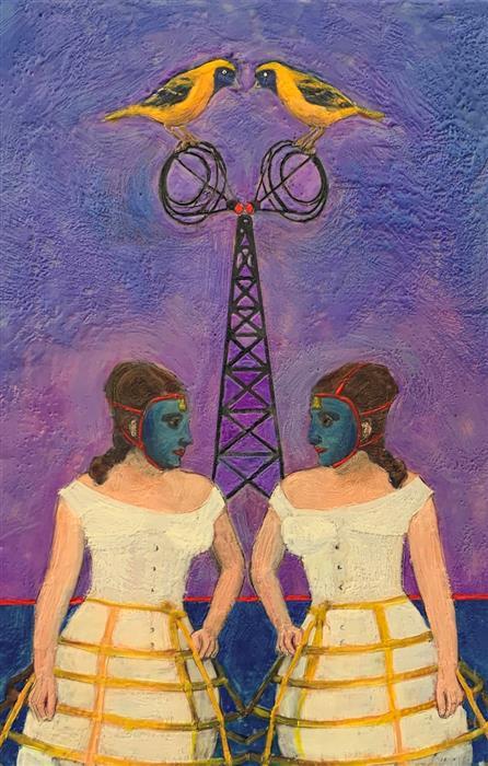Original art for sale at UGallery.com | Mystery of the Blue Velvet Mask by Linda Benenati | $575 | encaustic artwork | 18' h x 12' w | ..\art\encaustic-artwork-Mystery-of-the-Blue-Velvet-Mask
