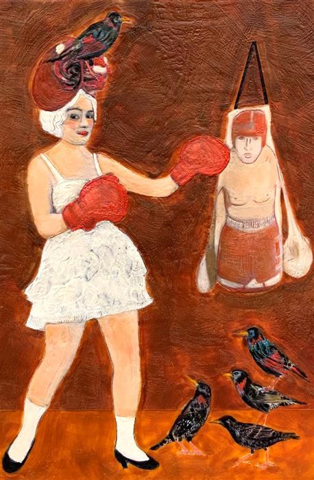 Original art for sale at UGallery.com | Knockout by Linda Benenati | $575 | encaustic artwork | 18' h x 12' w | ..\art\encaustic-artwork-Knockout