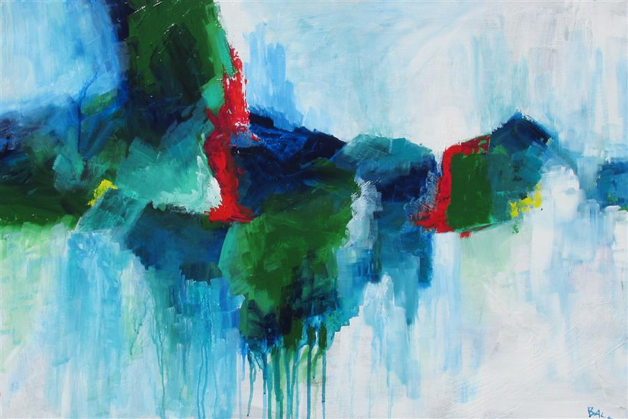 Original art for sale at UGallery.com | Misty in Blue and Green by Weldon Ball | $1,050 | acrylic painting | 24' h x 36' w | ..\art\acrylic-painting-Misty-in-Blue-and-Green