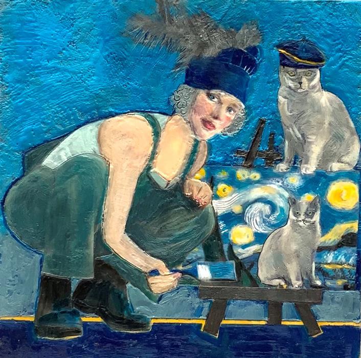 Original art for sale at UGallery.com | Copycat by Linda Benenati | $500 | encaustic artwork | 12' h x 12' w | ..\art\encaustic-artwork-Copycat