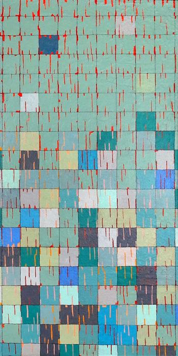 Original art for sale at UGallery.com | Gridscape: Upper Compartment on the Left by Terri Bell | $850 | mixed media artwork | 24' h x 12' w | ..\art\mixed-media-artwork-Gridscape-Upper-Compartment-on-the-Left