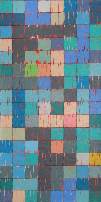 Original art for sale at UGallery.com | Gridscape: Square Garden by Terri Bell | $850 | mixed media artwork | 24' h x 12' w | ..\art\mixed-media-artwork-Gridscape-Square-Garden