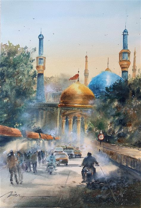 Original art for sale at UGallery.com | The Sultan by Fatemeh Kian | $900 | watercolor painting | 21.5' h x 14.5' w | ..\art\watercolor-painting-The-Sultan