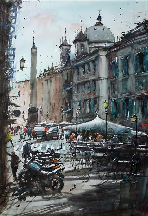 Original art for sale at UGallery.com | Fluid Piazza Navona by Maximilian Damico | $1,200 | watercolor painting | 36' h x 24.5' w | ..\art\watercolor-painting-Fluid-Piazza-Navona