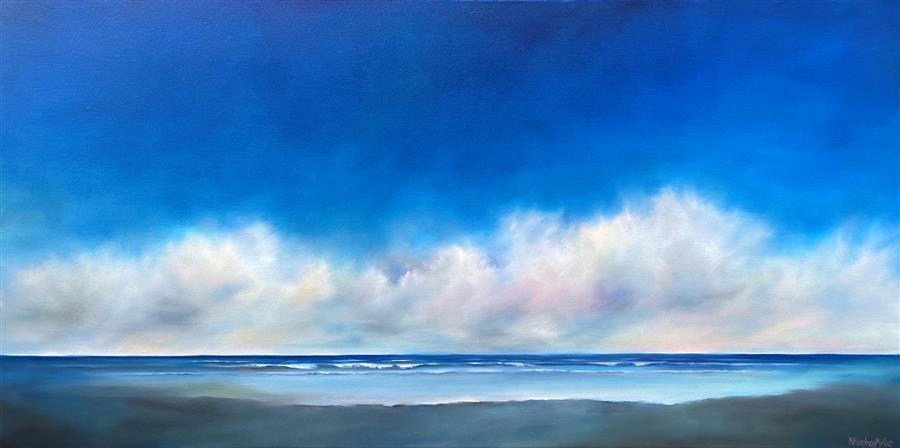 Original art for sale at UGallery.com | Blue Sky Beach Clouds by Nancy Hughes Miller | $2,700 | oil painting | 24' h x 48' w | ..\art\oil-painting-Blue-Sky-Beach-Clouds