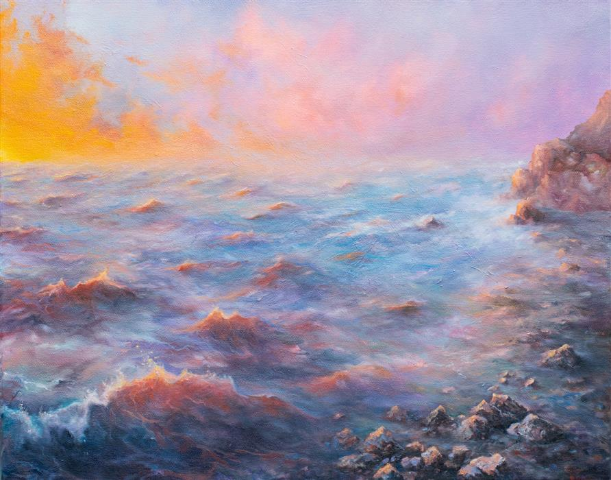 Original art for sale at UGallery.com | Water on Mars by Mitch Davis-Mann | $1,425 | oil painting | 16' h x 20' w | ..\art\oil-painting-Water-on-Mars