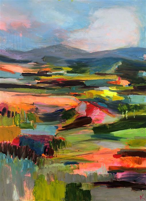 Original art for sale at UGallery.com | Wild Fires on Abenaki Fields by Rebecca Klementovich | $3,175 | acrylic painting | 40' h x 30' w | ..\art\acrylic-painting-Wild-Fires-on-Abenaki-Fields