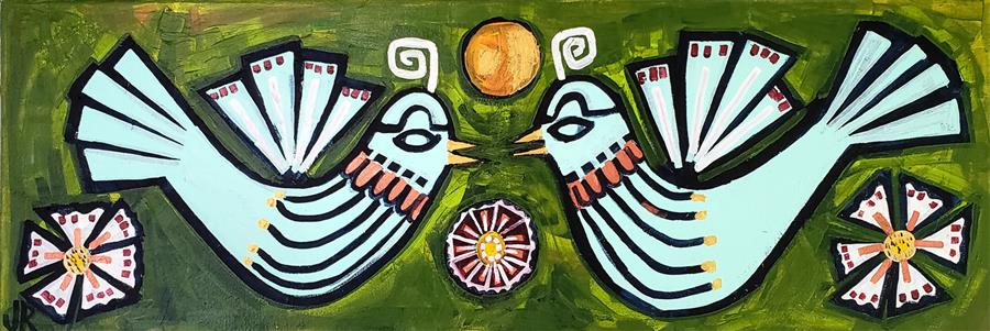 Original art for sale at UGallery.com | Love Birds by Jessica JH Roller | $650 | acrylic painting | 12' h x 36' w | ..\art\acrylic-painting-Love-Birds-70823