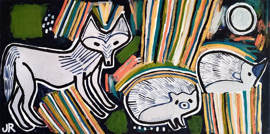 Original art for sale at UGallery.com | Wolf and Hedgehogs by Jessica JH Roller | $625 | acrylic painting | 15' h x 30' w | ..\art\acrylic-painting-Wolf-and-Hedgehogs