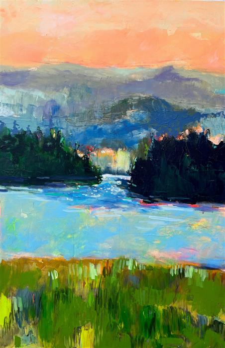 Original art for sale at UGallery.com | Magical Light Lure of Lake Pines by Rebecca Klementovich | $1,500 | acrylic painting | 36' h x 24' w | ..\art\acrylic-painting-Magical-Light-Lure-of-Lake-Pines