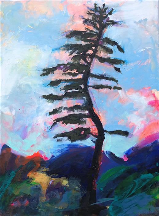 Original art for sale at UGallery.com | Pine Tree Waves in the Wind by Rebecca Klementovich | $1,090 | acrylic painting | 24' h x 18' w | ..\art\acrylic-painting-Pine-Tree-Waves-in-the-Wind