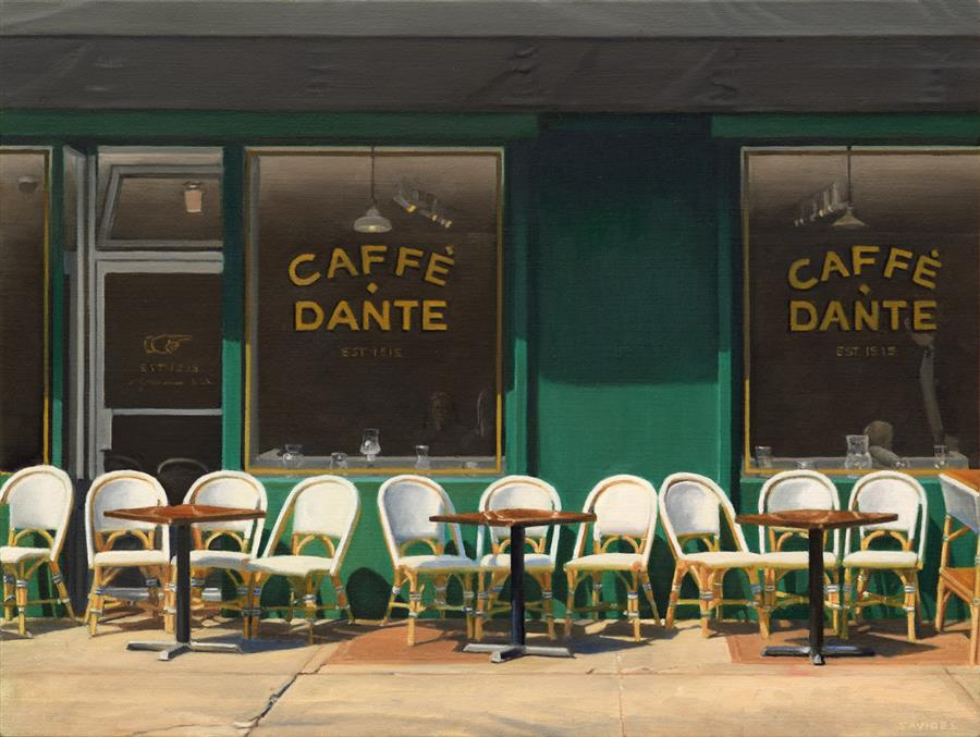 Original art for sale at UGallery.com | Caffe Dante by Nick Savides | $2,600 | oil painting | 18' h x 24' w | ..\art\oil-painting-Caffe-Dante