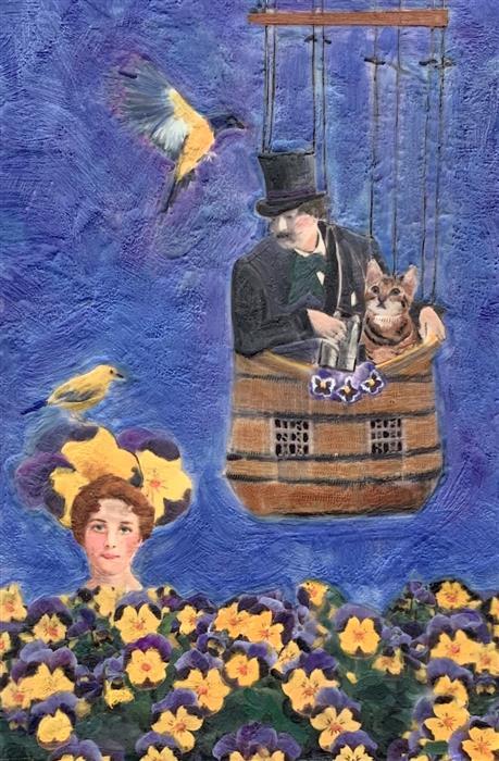 Original art for sale at UGallery.com | Desperately Seeking Someone by Linda Benenati | $575 | encaustic artwork | 18' h x 12' w | ..\art\encaustic-artwork-Desperately-Seeking-Someone