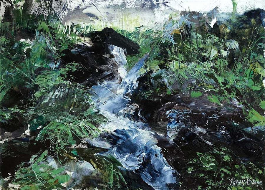 Original art for sale at UGallery.com | A River Runs Through by Tiffany Blaise | $475 | mixed media artwork | 12' h x 16' w | ..\art\mixed-media-artwork-A-River-Runs-Through