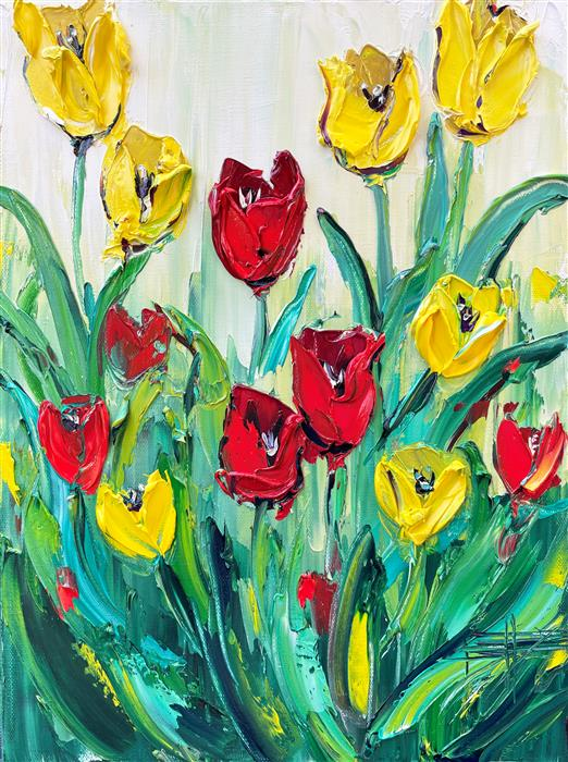 Original art for sale at UGallery.com | Springtime Tulips by Lisa Elley | $675 | oil painting | 16' h x 12' w | ..\art\oil-painting-Springtime-Tulips