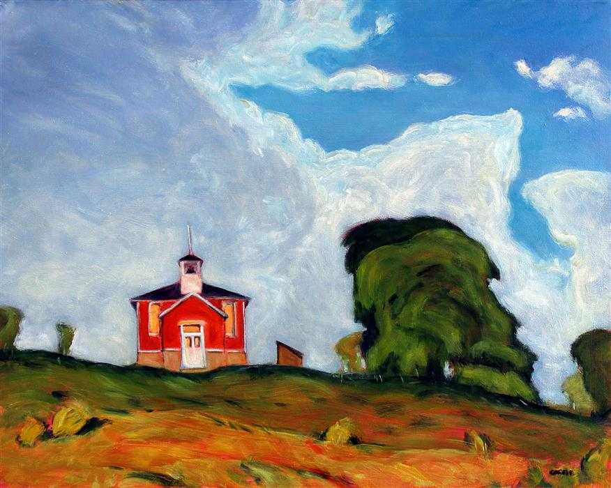 Original art for sale at UGallery.com | The Reed School, Wisconsin by Doug Cosbie | $475 | oil painting | 16' h x 20' w | ..\art\oil-painting-The-Reed-School-Wisconsin