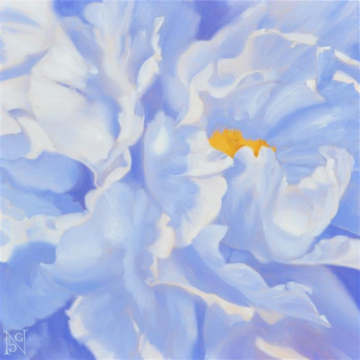 Original art for sale at UGallery.com | Shady Peony by Natalie George | $1,100 | oil painting | 24' h x 24' w | ..\art\oil-painting-Shady-Peony