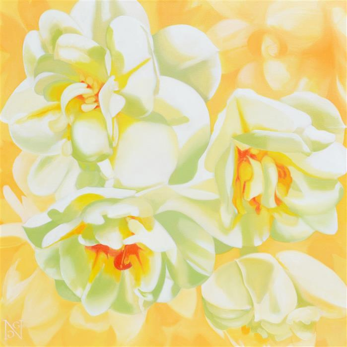 Original art for sale at UGallery.com | Double Daffodils by Natalie George | $1,650 | oil painting | 30' h x 30' w | ..\art\oil-painting-Double-Daffodils