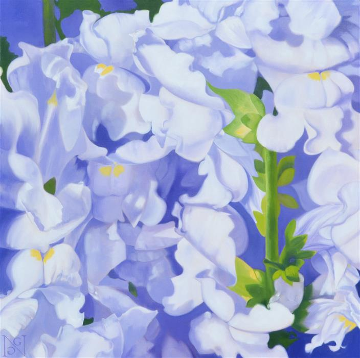 Original art for sale at UGallery.com | Celestial Snapdragons by Natalie George | $2,400 | oil painting | 36' h x 36' w | ..\art\oil-painting-Celestial-Snapdragons
