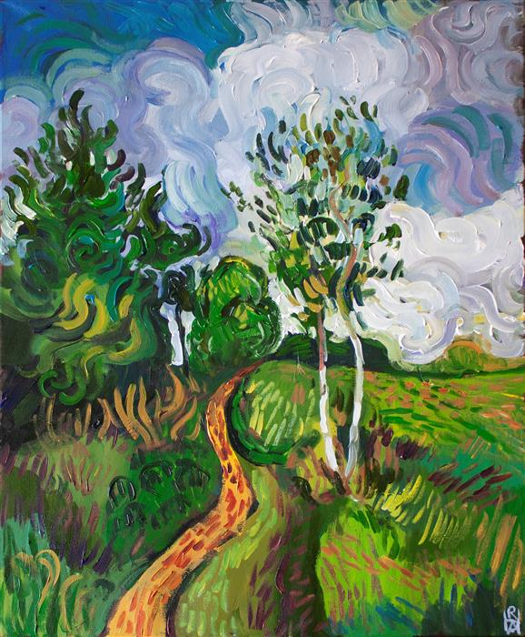 Original art for sale at UGallery.com | Path between the Trees by Robert Hofherr | $1,525 | acrylic painting | 28' h x 22' w | ..\art\acrylic-painting-Path-between-the-Trees