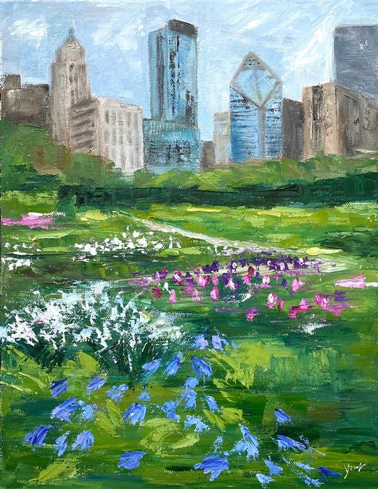Original art for sale at UGallery.com   Lurie Garden, Late Spring by Yangzi Xu   $400   oil painting   14' h x 11' w   ..\art\oil-painting-Lurie-Garden-Late-Spring