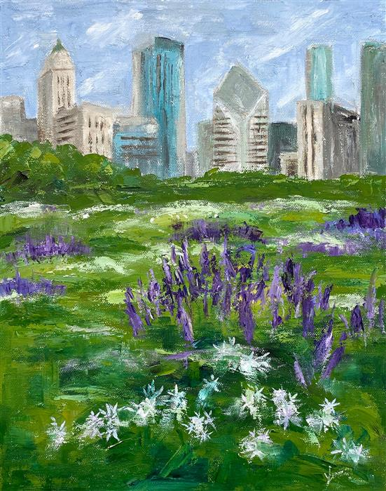 Original art for sale at UGallery.com | Lurie Garden, Early Summer by Yangzi Xu | $400 | oil painting | 14' h x 11' w | ..\art\oil-painting-Lurie-Garden-Early-Summer
