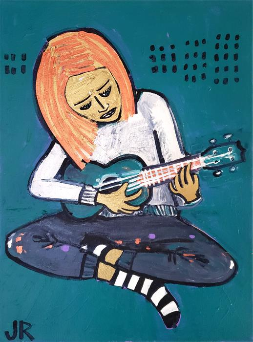 Original art for sale at UGallery.com | Girl Playing Ukulele by Jessica JH Roller | $525 | acrylic painting | 16' h x 12' w | ..\art\acrylic-painting-Girl-Playing-Ukulele
