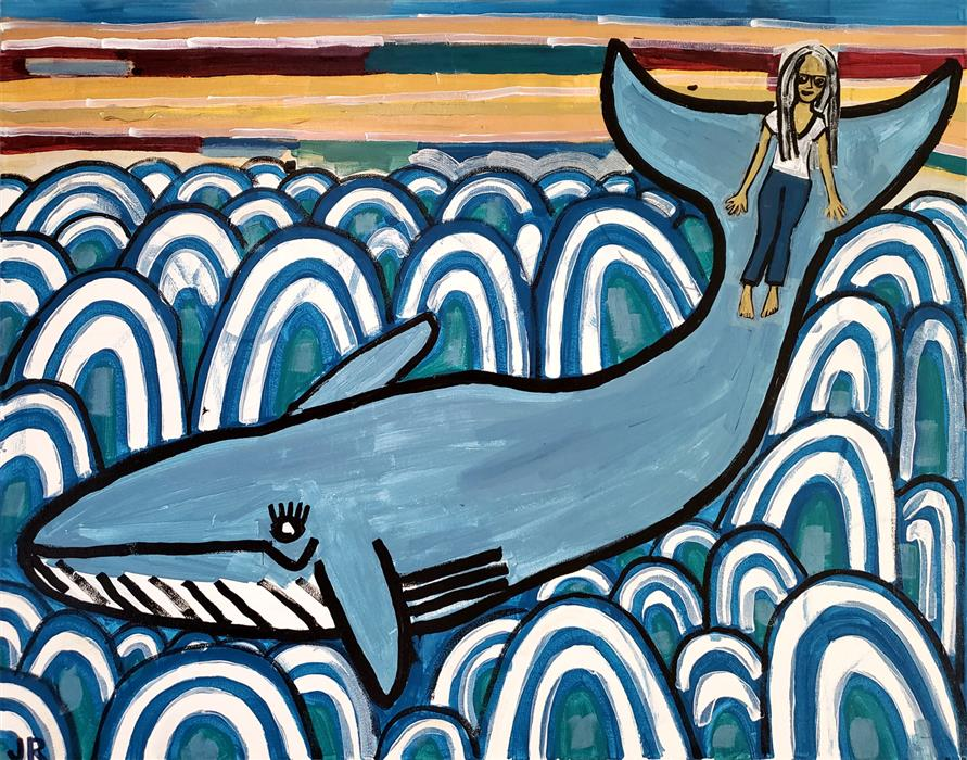 Original art for sale at UGallery.com | Whale Ride by Jessica JH Roller | $875 | acrylic painting | 22' h x 28' w | ..\art\acrylic-painting-Whale-Ride