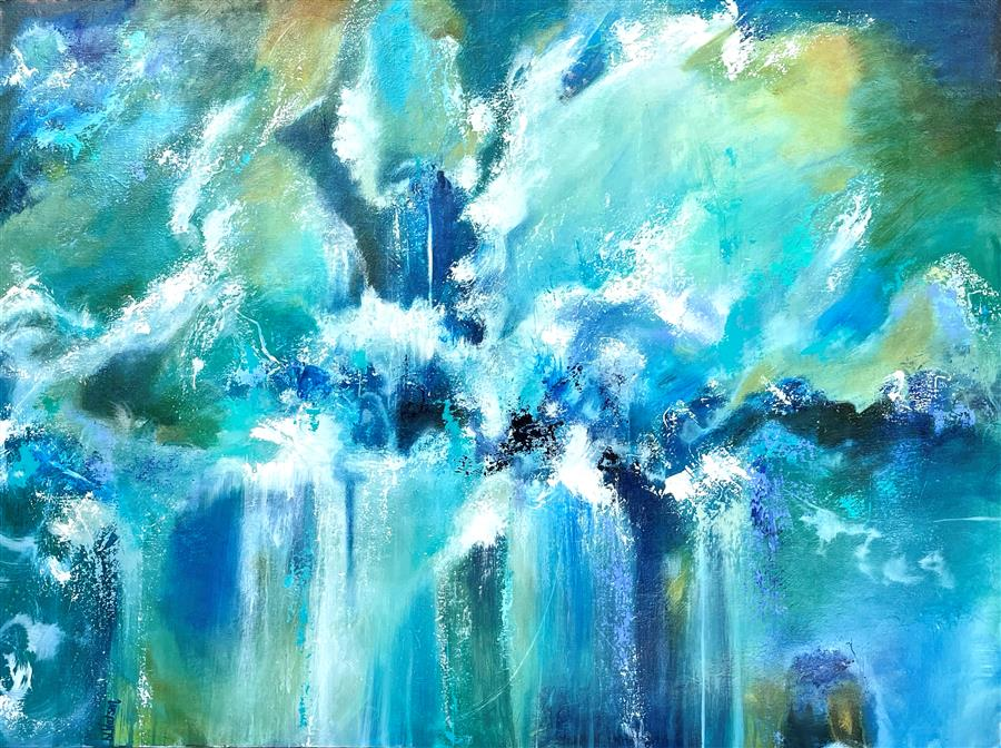 Original art for sale at UGallery.com | Blue Heaven by DL Watson | $4,450 | acrylic painting | 36' h x 48' w | ..\art\acrylic-painting-Blue-Heaven