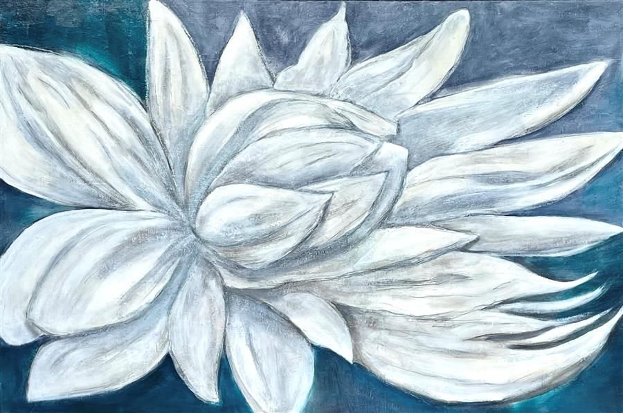Original art for sale at UGallery.com | Blue Lotus by DL Watson | $4,950 | acrylic painting | 30' h x 60' w | ..\art\acrylic-painting-Blue-Lotus