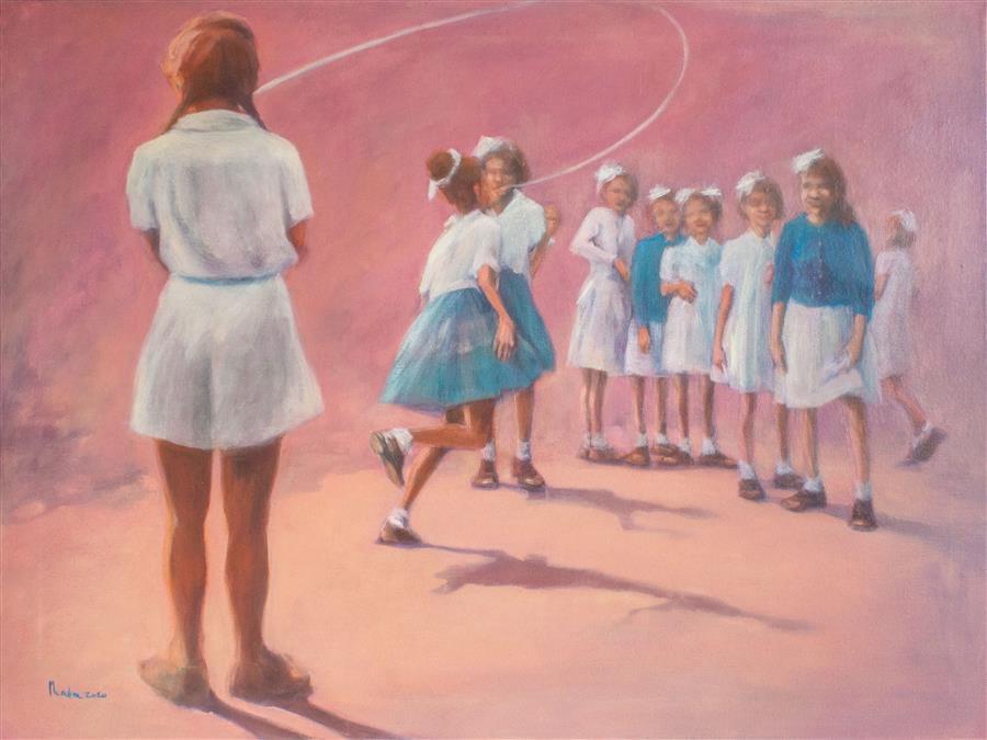 Original art for sale at UGallery.com | Causal Loop by Nata Zaikina | $2,250 | oil painting | 30' h x 40' w | ..\art\oil-painting-Causal-Loop