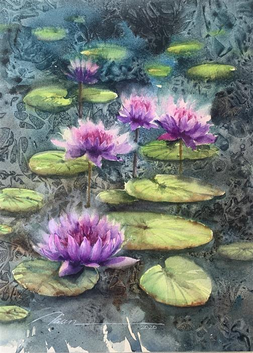 Original art for sale at UGallery.com | Swamp Blossoms by Fatemeh Kian | $475 | watercolor painting | 14' h x 10.5' w | ..\art\watercolor-painting-Swamp-Blossoms