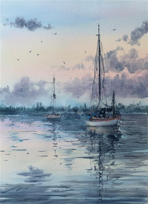 Original art for sale at UGallery.com | The Settled Boats by Fatemeh Kian | $525 | watercolor painting | 14.5' h x 10.5' w | ..\art\watercolor-painting-The-Settled-Boats