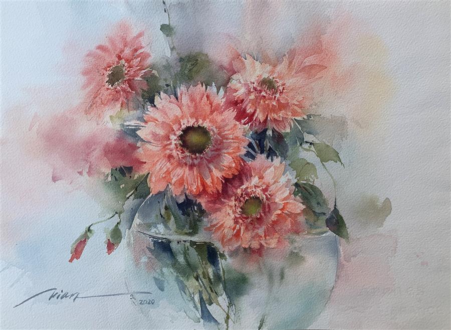 Original art for sale at UGallery.com | Happy Gerberas by Fatemeh Kian | $475 | watercolor painting | 10.5' h x 14.5' w | ..\art\watercolor-painting-Happy-Gerberas