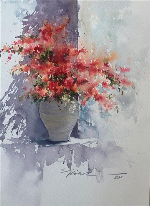 Original art for sale at UGallery.com | Shade of Love by Fatemeh Kian | $475 | watercolor painting | 14.5' h x 10.5' w | ..\art\watercolor-painting-Shade-of-Love